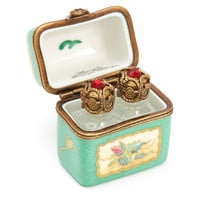 Green Roses Trunk Box with Glass Bottles