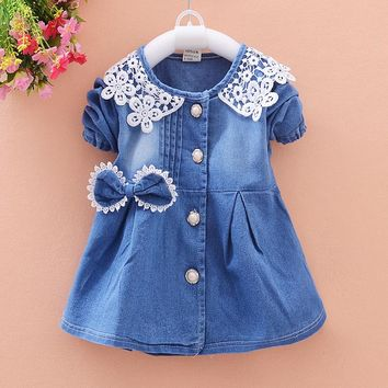 Toddler Kids Girls Coat Spring Children Cardigan Single Breasted Cowboy Outwear Jacket Infant Girls Cotton Baby Costume Hsp134