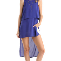 LONG SLEEVELESS DOUBLE LAYERED TANK TOP - ROYAL BLUE