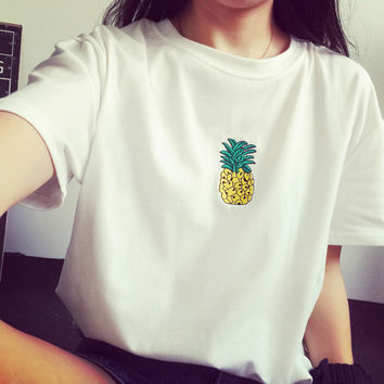 Women Comfortable Embroidery Pineapple T-Shirt in White