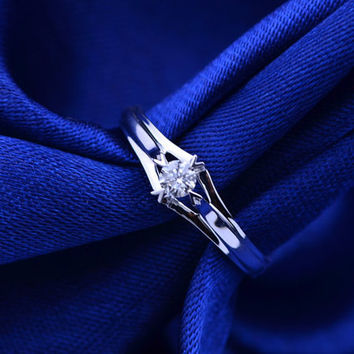 Elegant Solitaire Diamond 18k White Gold Ring Band Engagement Wedding Birthday Anniversary Valentine's