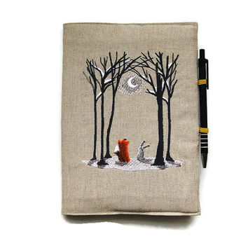 A5 notebook and pen, gift set, journal cover, reusable notebook cover, back to school, embroidered linen woodland fox and rabbit in the snow