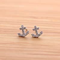 tiny ANCHORE stud earrings with crystals, 2 colors | girlsluv.it