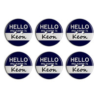 Keon Hello My Name Is Plastic Resin Button Set of 6