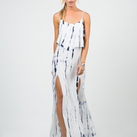 Ruffled Tie-Dye Maxi Dress