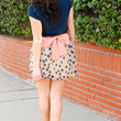 Classy and Sassy Bow Taupe and Coral Dot Skirt