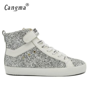 CANGMA Fashion Man's Boots Glitter Shoes Italian Designer Male Genuine Leather Sneakers Men Sequin Shoes Silver Ankle Boots