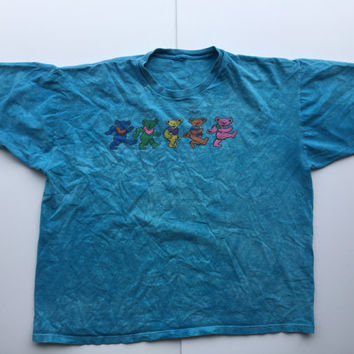 Grateful Dead Vintage Band Tee XL Distressed Dancing Bears Stonewashed