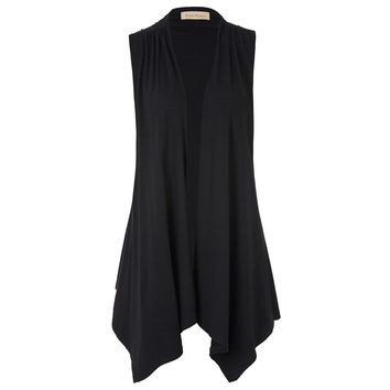 Women Casual Cardigan Waistcoat Cotton Sleeveless Long Vest Coat Asymmetrical Hem Blazer Office Autumn Jackets Coats