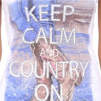 Short Sleeve Tee with Glitter Keep Calm and Country On Screen