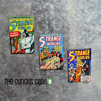 THANKSGIVING SALE Mini Comic Book Cover Magnet Set  3x2 inch | Set of 3 Vintage Comic Covers Strange Worlds Sci Fi Aliens and Robots