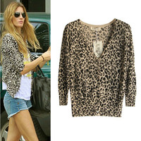 A 083004 Leopard Slim Sleeve Sweater