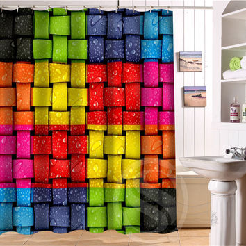 Colored fluorescent color decorative pattern Personalized Custom Shower Curtain Bath Curtain Waterproof Eco-Friendly  SQ0506-L08