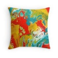 'Colorful Fluid Art' Throw Pillow by Maria Meester