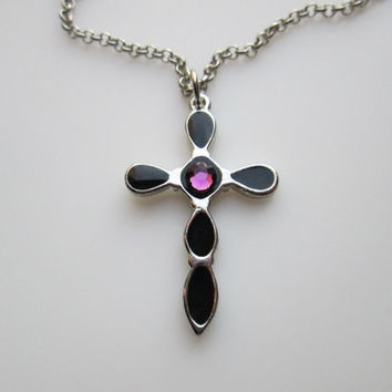 Black Cross Necklace with Amethyst Crystal Gem.