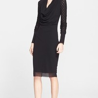 Women's Jean Paul Gaultier Cowl Neck Long Sleeve Tulle Dress ,