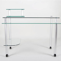"""Clear Glass and Aluminum Computer Desk with Casters (Glass and Aluminum) (31.25""""H x 42.5""""W x 24""""D)"""