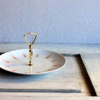 mid century modern white serving plate with center handle // china sandwich server