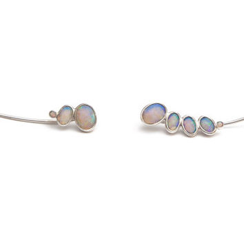 Opal ear climber in 14k gold, feminine, earrings, pair of asymmetrical ear climbers for everyday or wedding jewelry