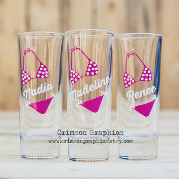 3 Personalized Wedding Party Bachlorette Birthday Beach Bikini Shot Glasses [Made to Order]