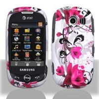White Rose Pink Flower Vine Design Snap on Hard Shell Cover Protector Faceplate Skin Case for AT&T Samsung Flight2 Flight 2 II A927 + LCD Screen Guard Film (Free Wristband)