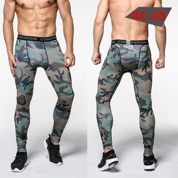Elastic Sweatpants Lifting Bodybuilding Skin Tights Camouflage Pants Men Compression Pant Trousers Brand Clothing Pantalon