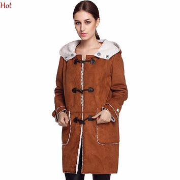 Women Leather Suede Coats Warm Hooded Fleece Slim Long Outwear Coat Vintage Pocket Horn Buttons Winter Jacket Outerwear YC001175