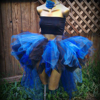 Adult tutu, gothic tutu, rave raver tutu, blue and black tutu skirt, steampunk clothes, Burlesque clothes,