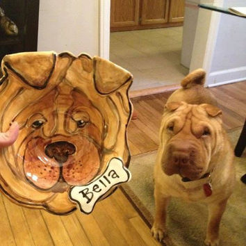 Large Custom portrait Dog Bowl personalized free any dog pottery dish