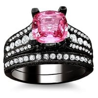 3.10ct Pink Sapphire Diamond Engagement Ring Bridal Set 18K Black Gold Rhodium Plating Over White Gold