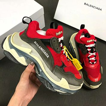 Balenciaga Triple-S Fashionable Men Retro Sport Shoes Sneakers Red