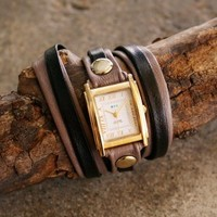 two-tone layered leather wrap watch by La Mer Collection | shopcuffs.com