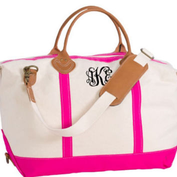 Monogrammed Leather Trimmed Weekender Travel Bag