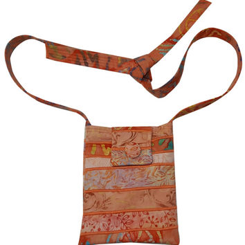 Small Adjustable Strap Bag in Coral Batiks