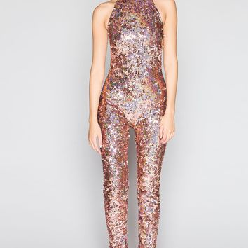Rose Gold Sequin Halterneck Catsuit