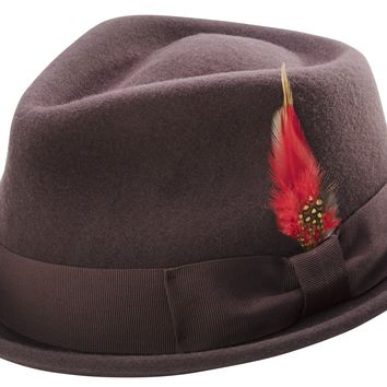 Brown Stingy Brim Fine Heather Wool Felt Bogart Hat Teardrop Dent - Accent Feather By Montique H-54