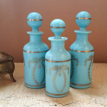 Blue Opaline Glass Perfume Bottles Portieux Vallerystal France Set of Three