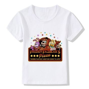 2018 Cartoon  At Freddy Children Funny T shirt Casual Kids Summer Tops Freddy Pizza Place Print T-shirt Boys Clothes