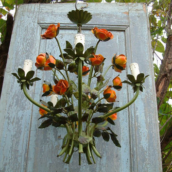 French vintage rose bush toleware chandelier. Green, orange, yellow. 5 branches. Secret garden decor. Shabby chic. French country