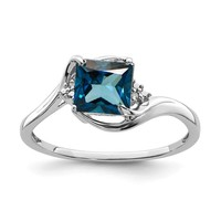 Sterling Silver Diamond & London Blue Topaz Princess Cut Ring