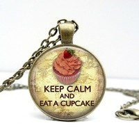 Keep Calm and Eat Cupcakes Retro Dome Pendant Necklace - Whimsical & Unique Gift Ideas for the Coolest Gift Givers
