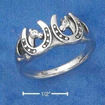 Sterling Silver Ring:  Horseshoes And Horse Heads Ring