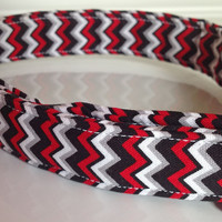 Red Black & White Chevron Dog and Cat Collar