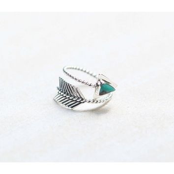 Vintage Boho Jewelry 925 Solid Sterling Silver Natural Gemstone Turquoise Adjustable Gypsy Arrow Ring Wedding Engagement Rings