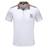 BURBERRY Summer Popular Men Women Casual Short Sleeve Lapel T-Shirt Top