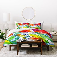 CayenaBlanca Ink Flowers Duvet Cover