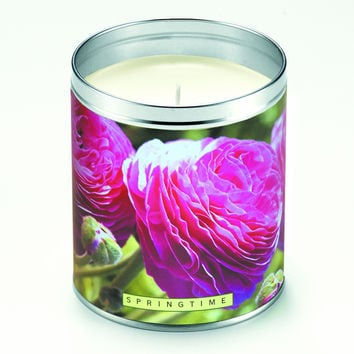 Springtime Pink Flowers Candle