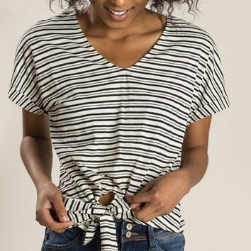 Naomi Black Stripe Tie Top