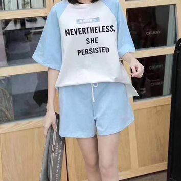 Woman's Leisure  Fashion Letter Printing Fresh Spell Color Loose  Short Sleeve Shorts Two-Piece Set Sportswear
