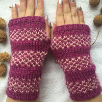 Hand Knitted Fingerless Gloves, Female purple gloves ,Mother's Day ,Turkish handicrafts, Gift Ideas, Winter Accessories,Knitted Fingerless